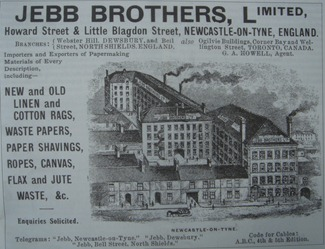 Advert for Jebb Brothers Ltd, of Howard Street and Little Blagdon Street