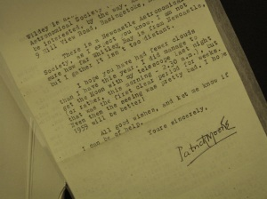 Patrick Moore's letter, housed in a conservation- grade enclosure.