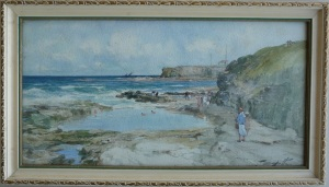 'Bathing Pool', Whitley Bay, (1927), T.S Hutton. Orange/brown foxing is visible, particularly across the sky.
